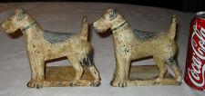 # 1 Antique Spencer Foundry Cast Iron Terrier Dog Art Statue Wedge Type Doorstop