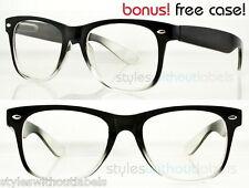 CLEAR LENS BLACK FRAME Hipster Style Fashion Glasses NERD GEEK RETRO 80S Sm/Med