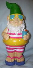 "9.5"" plastic beach swimmer inner tube Gnome yard decor garden ornament statue"
