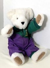 "Vermont Teddy Bear Racer Ted 15"" Tall White Jointed Vtg 90s Racecar Driver"