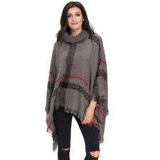 Women Batwing Top Poncho Knit Cardigan Turtle Neck Sweater Cape Coat Outwear New