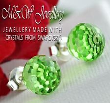 925 Silver Stud Earrings DISCO BALL 8mm * Peridot CAL * Crystals from Swarovski®