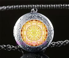 Gold Sri Yantra Cabochon Glass Tibet Silver Chain Locket Pendant Necklace#A6