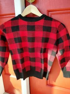 OLD NAVY Boys' Black/Red 100% Cotton Checkered Long Sleeve Sweater, size 6/7