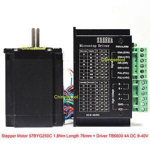 Stepper Motor 57BYG250C 1.8 N.m Length 76mm + Microstep Driver 0.5-4A DC 9-40V