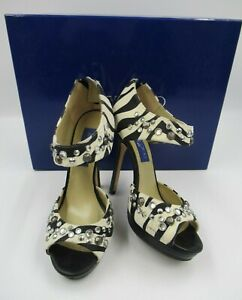 Jimmy Choo for H&M Zebra Print Heels Size EU 37 UK 4 Boxed [909]