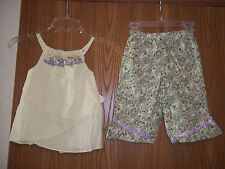 PIcture Me Girls Size 4 Yellow Purple Floral 2 Piece Top Pants Dainty Summer