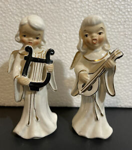 Vintage Chase Japan 1950's Hand Painted Set Of 2 Musical Angel Figurines