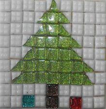 Mosaic kit to make 2 christmas tree coasters - Complete with everything needed