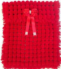 RED POM POM TURNOVER BABY BOY GIRL BLANKET WITH REMOVABLE TRIPLE BOW
