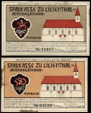 [11631] - 2 x NOTGELD Lilienthal, Caisse d'épargne, 25 + 50 Pf, 01.10.1920. G/M 802.1 (