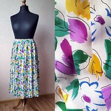 1980s Vintage Colourful Pleated Midi Skirt