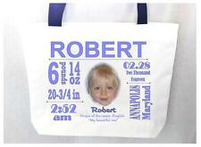Personalized NEW BABY TOTE BAG Baby Name Meaning Photo Birth Info Great Gift