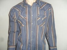 vtg Ely Cattleman Western Shirt Pearl Snap Vertical Stripe Blue Burgundy Xl