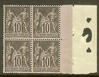 """FRANCE STAMP TIMBRE N°103 """"SAGE 10c NOIR SUR LILAS TYPE III BLOC 4"""" NEUF xx TB"""