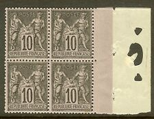 "FRANCE STAMP TIMBRE N°103 ""SAGE 10c NOIR SUR LILAS TYPE III BLOC 4"" NEUF xx TB"