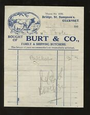 GUERNSEY 1932 ILLUSTRATED CATTLE + SHEEP BUTCHERS BILL