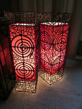 Red Lamps Wicker Chinese Lantern Asian Looking Lamp Lighting Lights Vintage Old