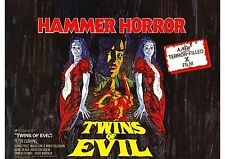 Twins of Evil - Peter Cushing - Collinson Twins - A4 Laminated Mini Movie Poster