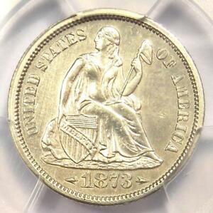 1873-S Arrows Seated Liberty Dime 10C Coin - PCGS Uncirculated Details (UNC MS)