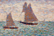 Two Sailboats at Grandcamp by Georges Seurat 60cm x 40cm Art Paper Print