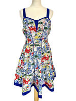 Joe Browns Bold Floral 50's Style Cotton Dress With Adjustable Straps Size 14