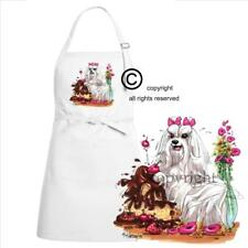 Maltese Dog Breed Cartoon Caricature Cake Chow Kitchen Chef Apron