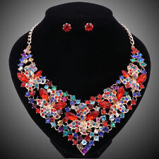 Fashion Colorful Crystal Jewelry Sets For Women Bridal Wedding Necklace Earring