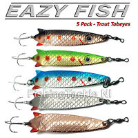 Dennet Eazy Fish 5 Pack Tobeye Spoon Lures - Trout / Salmon / Perch / Pike
