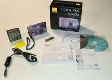 Nikon S6400 COOLPIX 16.0MP Purple Digital Camera W/ All Original Equipment + Box