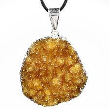 PENDANT - CITRINE DRUZE (Druzy) CLUSTER Crystal w/Card - Healing Reiki Stone