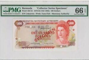 1982 BERMUDA 100 Dollars SPECIMEN PMG66 EPQ GEM UNC @P-33csi