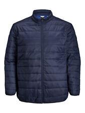 Jack & Jones Mens Big King Size Navy Puffer Jacket Zip Up Winter Warm Coats