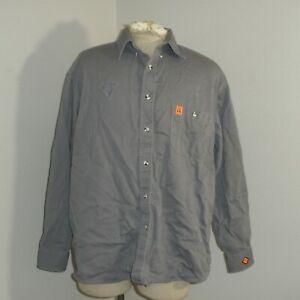 Mens XL Reg WRANGLER FR Fire Flame Resistant Gray Long Sleeve work Shirt
