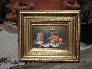 Vintage Frank Lean original oil painting Still life, violin and books framed
