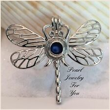DRAGONFLY Wish Pearl Cage Silver Pendant for akoya oyster pearls or beads