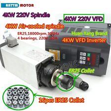 Square 4kw Air Cooling Spindle Motor Er25amphy 4kw Inverter Vfdamp16pcs Collets Cnc
