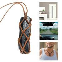 Natural Black Tourmaline Pendant Healing Protection Stone Gift Braided Rope