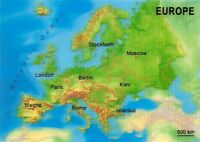 3D Map Postcard of Europe by MBM Systems 63U