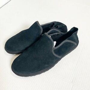 Ugg Australia Cooke Slippers Men's Size 11 Sheepskin Shearling Black Suede