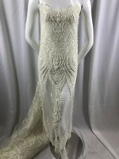 Beaded Fabric - Embroidered Lace Pearls Ivory Mesh Bridal Wedding By The Yard