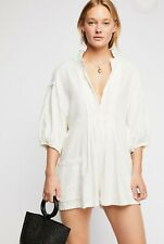 NWT Free People TOMBOY White Linen Romper One Piece Play Suit Shorts Pockets L