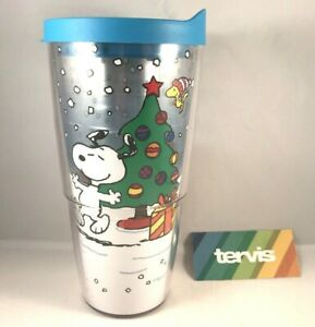 Peanuts Snoopy Charlie Brown Christmas Snow Days Tervis Tumbler Cup 24 oz w/lid