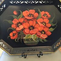 "EUC Vtg. Tole Tray Handpainted Orange/Red Poppies/ Basket/Pilgrim Art- 13x181/2"""