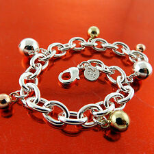 FSA578 GENUINE REAL 925 STERLING SILVER S/F YELLOW ROSE GOLD G/F CHARM BRACELET