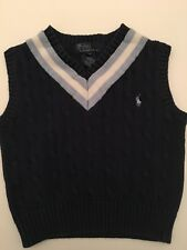 Boys POLO RALPH LAUREN Cable Blue Sweater Vest Sz 3/3T