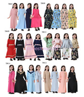 New Girls Maxi Dress Kids Long Sleeve Kaftan Muslim Abaya Islamic Prayer Clothes