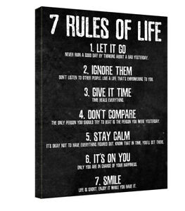 7 Rules of Life Canvas Art Wall Decor Picture Print Inspirational Quotes Poster