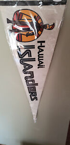 HAWAIIAN ISLANDERS MINOR LEAGUE BASEBALL FELT PENNANT WITH HOLDER 4/18/21