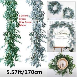 Artificial Eucalyptus Garland Plant Vine Fake Willow Hanging Wedding Ruscus Leaf
